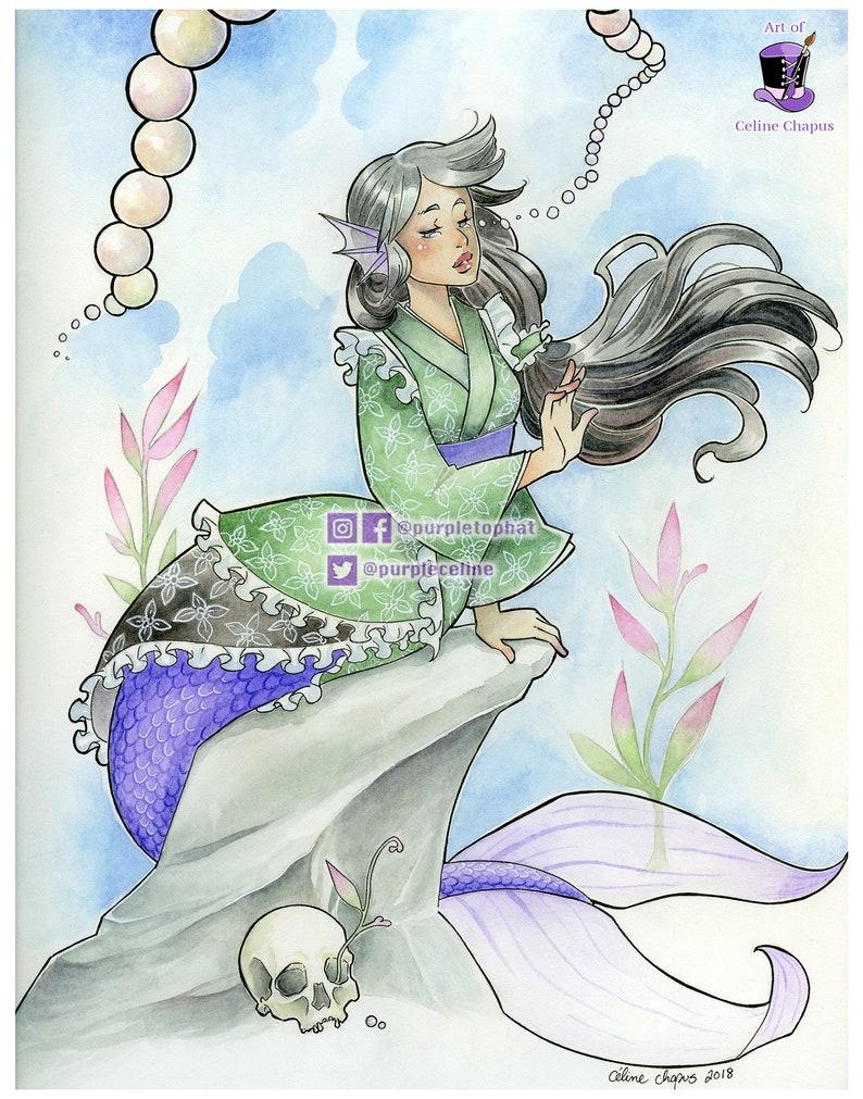 She Cries Pearls: Mermaid Art Print image 0