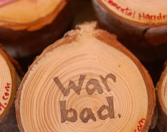 WAR BAD hand carved peace stamp- stocking stuffer