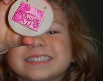 Custom Carved Personalized Rubber Stamp from your Child's Drawings