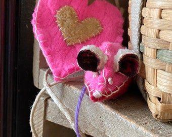 Waldorf Inspired Valentine Pink Mouse with Heart Pouch Necklace