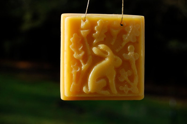 Natural beeswax rabbit ornament or sun-catcher image 0