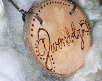 Personalized Childrens Natural Wooden Branch Necklace or ornament