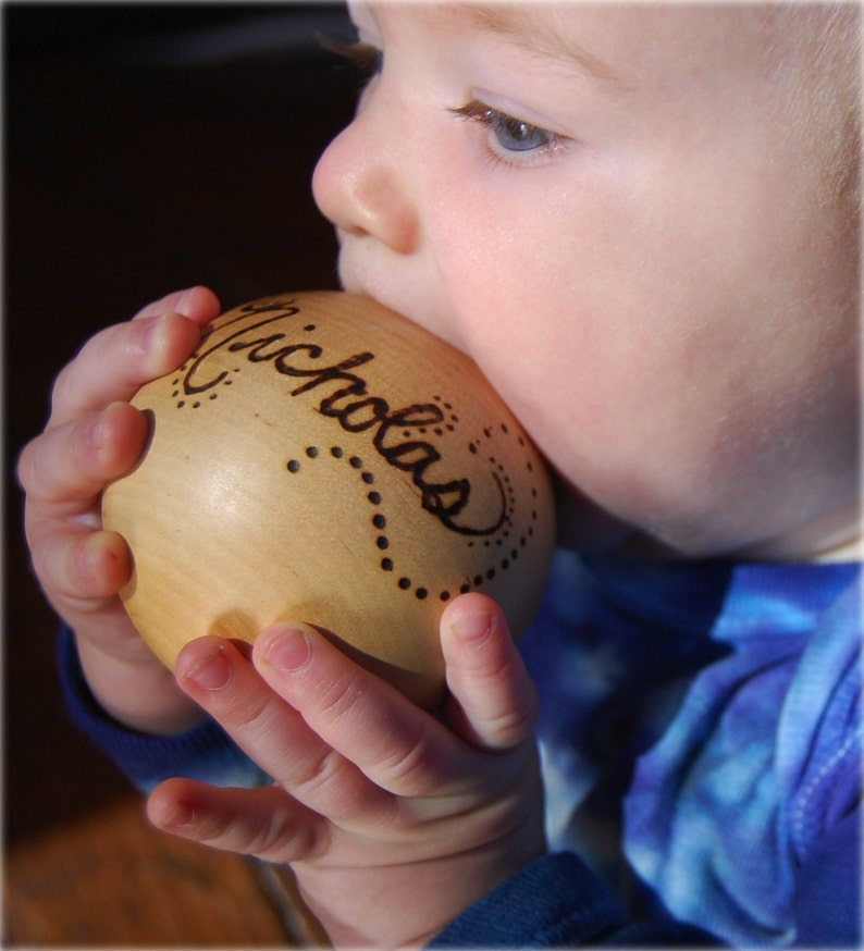The Original Personalized Heirloom Wooden Baby Ball Toy  new image 0
