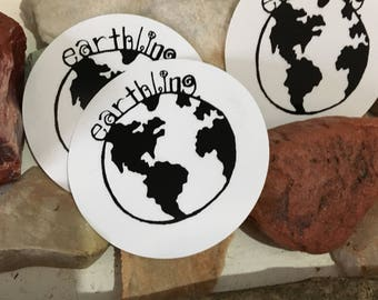 THREE earthling vinyl STICKERS