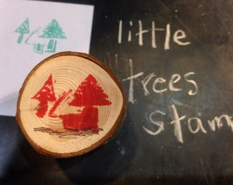 Little Christmas trees mounted rubber stamp