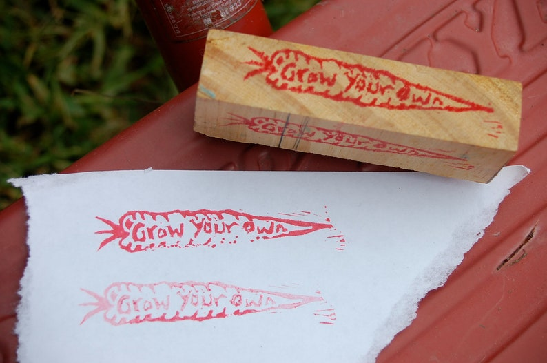 Grow Your Own carrot mounted stamp image 0