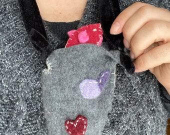 Waldorf Inspired Valentine Pink Mouse with gray Pouch Necklace