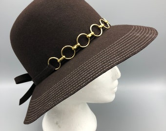 b5dc1c436ec Vintage 70s Bollman Hat Co Wide Brim Felted Wool Hat Brown with Gold Tone  Accents