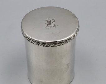 Vtg Silver Plated Lidded Cylinder Vanity Container Monogrammed R