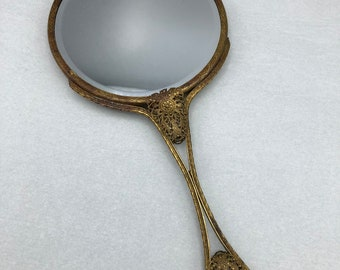 Antique Victorian Hand Mirror with Filigree Handle and Fabric Back