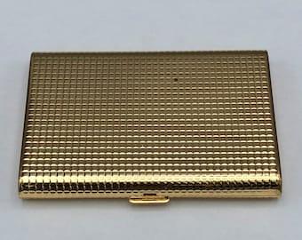 Vtg Gold Tone Compact Rectangular Swiss Made Bevelled Mirror