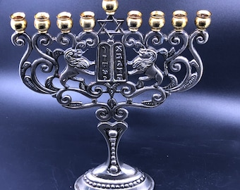 Godinger Silver Plated Hanukkah Menorah Two Tone Gold Silver