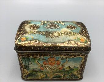 Antique Tin Litho Soviet Tea Box Art Nouveau Embossed Yan Brand Advertising