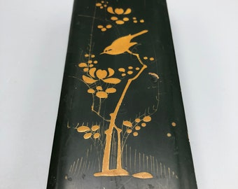 Vintage Japanese Lacquer Bamboo Box Hand Painted Bird in Tree