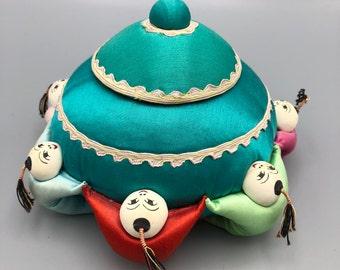Vintage Asian Theme Silk Sewing Box Pin Cushion 7 Man 6 Inch Diameter