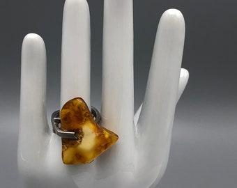 Vintage 80s Polish 925 Silver and Butterscotch Amber Ring Modernist Design Adjustable