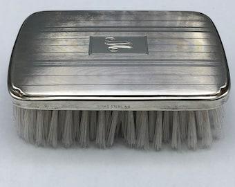 Birks Sterling Mens Grooming Brush Monogrammed M or W Vintage 1940s