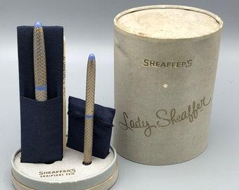 Sheaffers Lady Sheaffer Scripsert Fountain Pen Pencil Set Gold Tone Periwinkle in Original Box