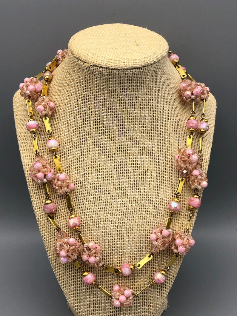 Vintage Artisan Pink Faceted Glass Bead and Gold Tone Link Necklace 42 12 inch