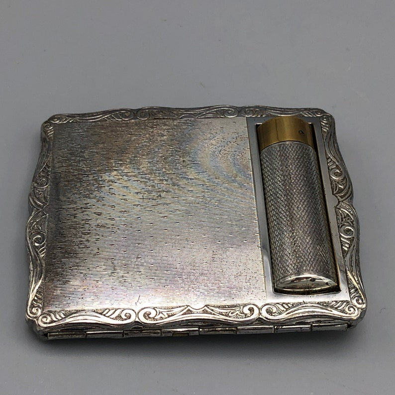 Stratton Lipstick and Loose Powder Vanity Case Compact Silver Tone