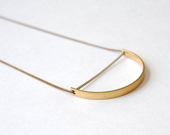 Curved Bar Necklace. Minimal Modern Boho Style. Geometric Gold Semi Circle. Brass Arc Shape. Half Moon Charm. Long Brass Pendant Necklace.