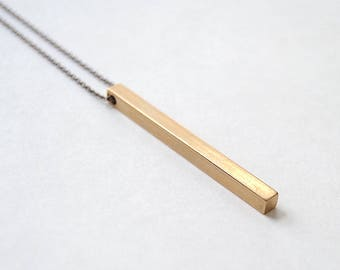 Long Gold Bar Necklace. Geometric Jewelry For Minimal Men. Simple Woman Statement Piece. Long Chain With Brass Bar Pendant. Gift For Man.