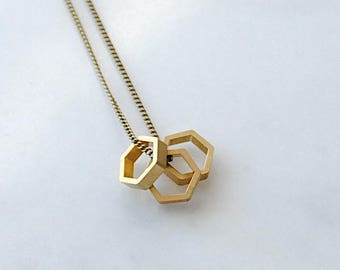 Hexagons Trio. Dainty Charm Necklace. Minimal Geometric Shapes. Bee Hive Honeycomb Jewelry For Mom Gift. Three Sisters. Three Best Friends.