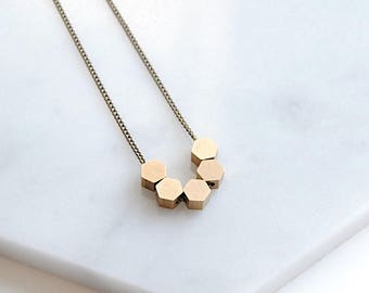 Tiny Hexagons Necklace. Mini Geometric Jewelry For Her Birthday Gifts. Simple Delicate Charms Under 50. Brass Beaded Chain For Layering.