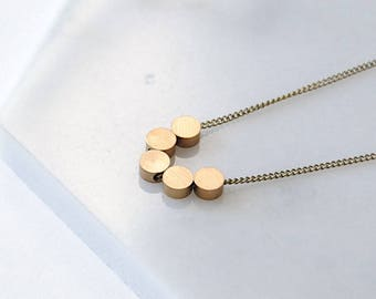 Tiny Circles Dainty Necklace. Layering Chain For Her. Family of 5. Small Gold Circle Charms Teen Girl Gifts. Minimal Brass Simple Geometric.