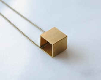 Brass Cube Necklace. Square Charm. Geometric For Him. Gift For Minimalist Necklace For Woman. Math Teacher Under 50. Girlfriend Jewelry.