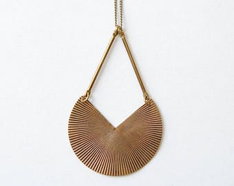 Sunset Necklace. Vintage Brass Fanned Pendant. Geometric Arc Shape. Upcycled Jewelry. Bohemian Necklace. Art Deco Gift. For Spiritual Woman.