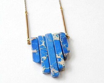 Blue Jasper Stone Necklace. Sea Sediment Jasper Jewelry. Earthy Big Pendant. Long Geometric Statement Gemstone Necklace. Boho Hippie Zen.