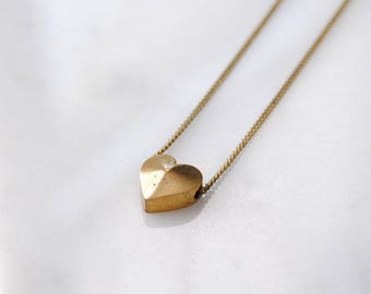 Small Heart Necklace For Her. Gift for Girlfriend. Simple Necklace For Mom Gift. Bridesmaids Jewelry. Teen Necklace for Girls. Dainty Charm.