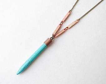 Boho Chic Turquoise Bar Necklace. Howlite Natural Stone Point Pendant. Southwestern Style. Gypsy Trendy Jewelry. Long Vertical Bar Pendant.