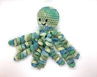 Crochet Octopus for Preemies, Crochet Octopus for Babies in Variegated Green Color, Crochet Amigurumi