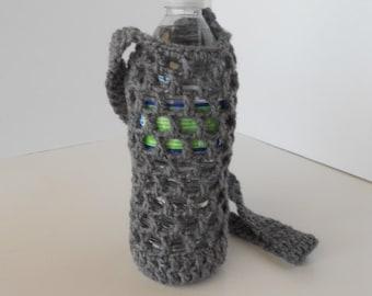 Crochet water bottle holder, crochet bottle carrier in hunter grey