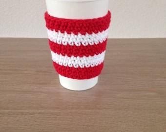 Crochet cup cozy, coffee cup sleeve, reusable coffee sleeve, coffee cup cozy in red and white, candy cane cup cozy, Christmas cup cozy