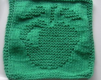 Green apple knit dishcloth, green apple knitted washcloth, green cotton dishrag
