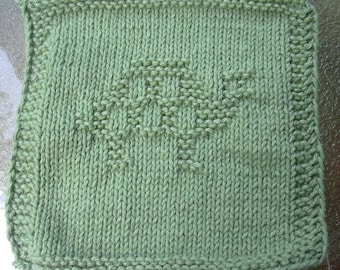 Green turtle dish cloth wash cloth, knit dishcloth, knit washcloth
