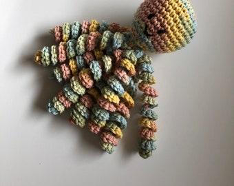 Crochet Octopus for Preemies, Crochet Octopus for babies in Variegated Yellow, light blue and Pink, Crochet Amigurumi