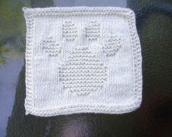 Paw Print dishcloth in ecru, washcloth, knit dishcloth, knit washcloth