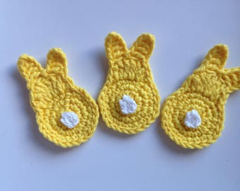 Yellow crochet bunny applique yellow crochet rabbit applique