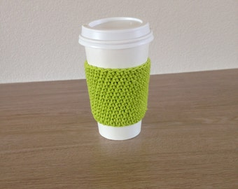 Crochet cup cozy, coffee cup sleeve, reusable coffee sleeve, coffee cup cozy in lime green.
