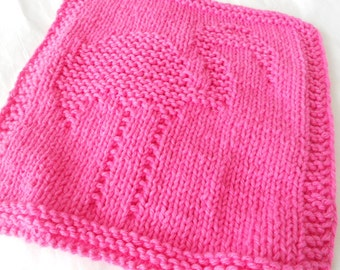 Flamingo knitted dishcloth in hot pink, dishcloth, washcloth, dishrag