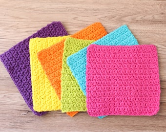 Crochet cotton dishcloth washcloth, cotton dishrag, set of 6, crochet rainbow dishcloth