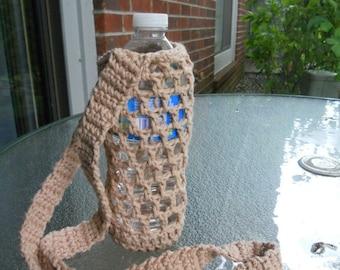 Crochet water bottle  holder - beige, light brown, crochet bottle carrier