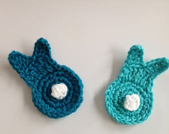 Crochet bunny applique,  crochet rabbit applique in teal and turquoise
