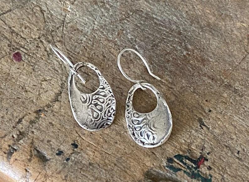 Kashmir Earrings Modern Rustic Silver Earrings Boho Silver Dangle Earrings Handmade Romantic Jewelry