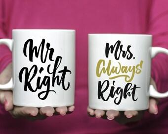 Set of Mr Right Mrs Always Right Coffee Mugs | Ceramic Coffee Mugs | Gift for Wedding Couple | Mug Gift Set | Sublimation Mug | Mug Set