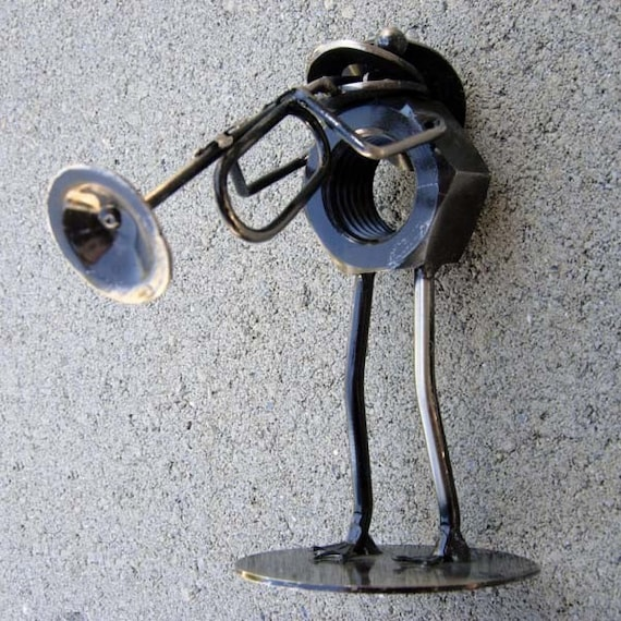FROG the TRoMBONE PLAYER  Metal Sculpture Stationary Mr